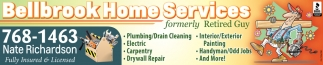 Plumbing, Drain Cleaning, Electric, Carpentry, Painting