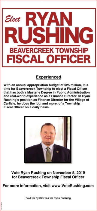 Elect Ryan Rushing Beavercreek Township Fiscal Officer