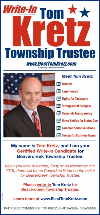 Write-In Tom Kretz Township Trustee