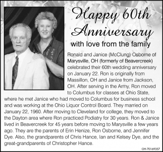 Happy 60th Wedding Anniversary Ronald and Janice McClung