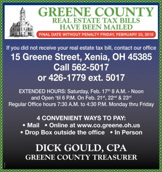 Greene County Real Estate Tax Bills have been mailed
